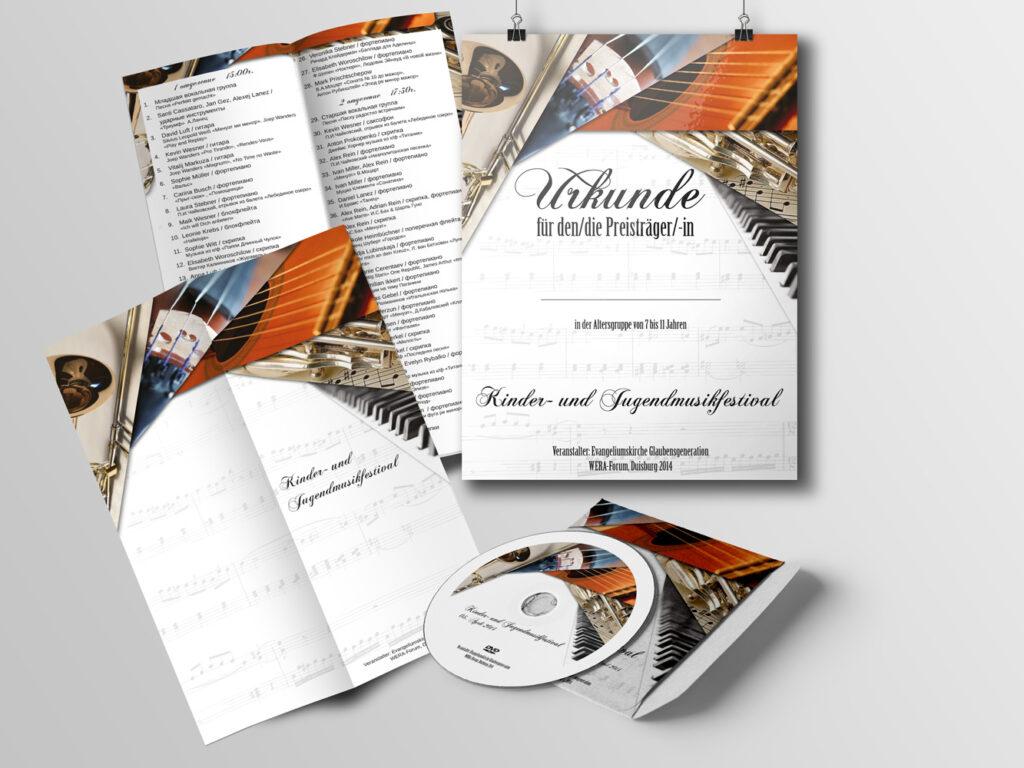 Urkunde, Programm, CD-Cover für Musikfestival